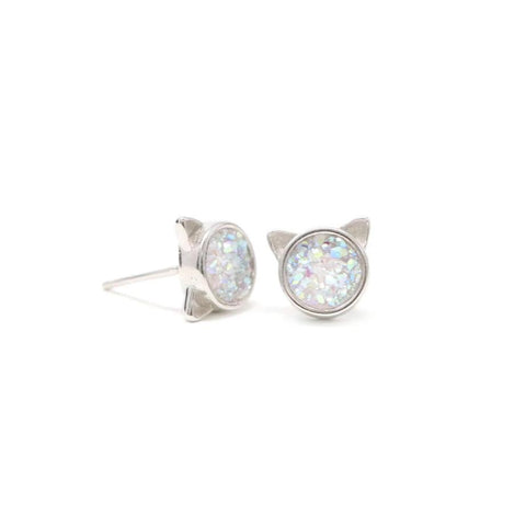 The Druzy Cat Stud Earrings in White Druzy