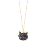 The Druzy Cat Necklace in Gold