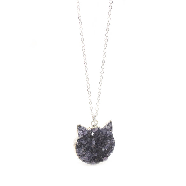 The Druzy Cat Necklace in Silver