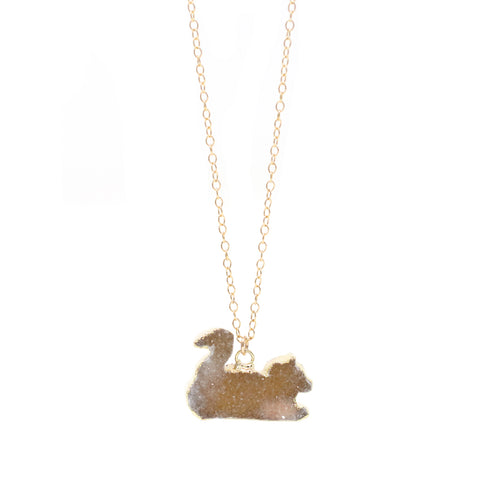 The Sleeping Kitty Druzy Necklace in Gold