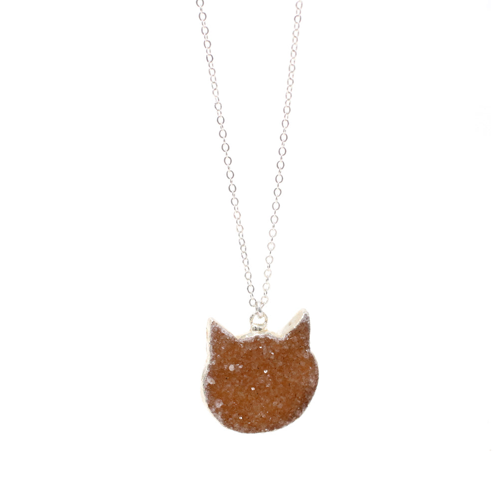 The Orange Cat Druzy Necklace in Silver