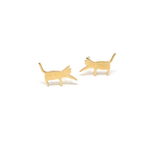The Playing Kitties Silhouette Stud Earrings