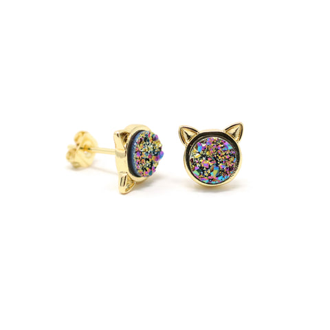 The Druzy Cat Stud Earrings in Rainbow