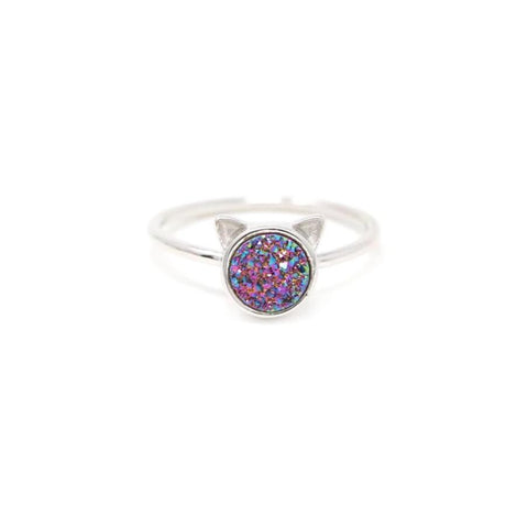 The Druzy Cat Ring in Rainbow Druzy