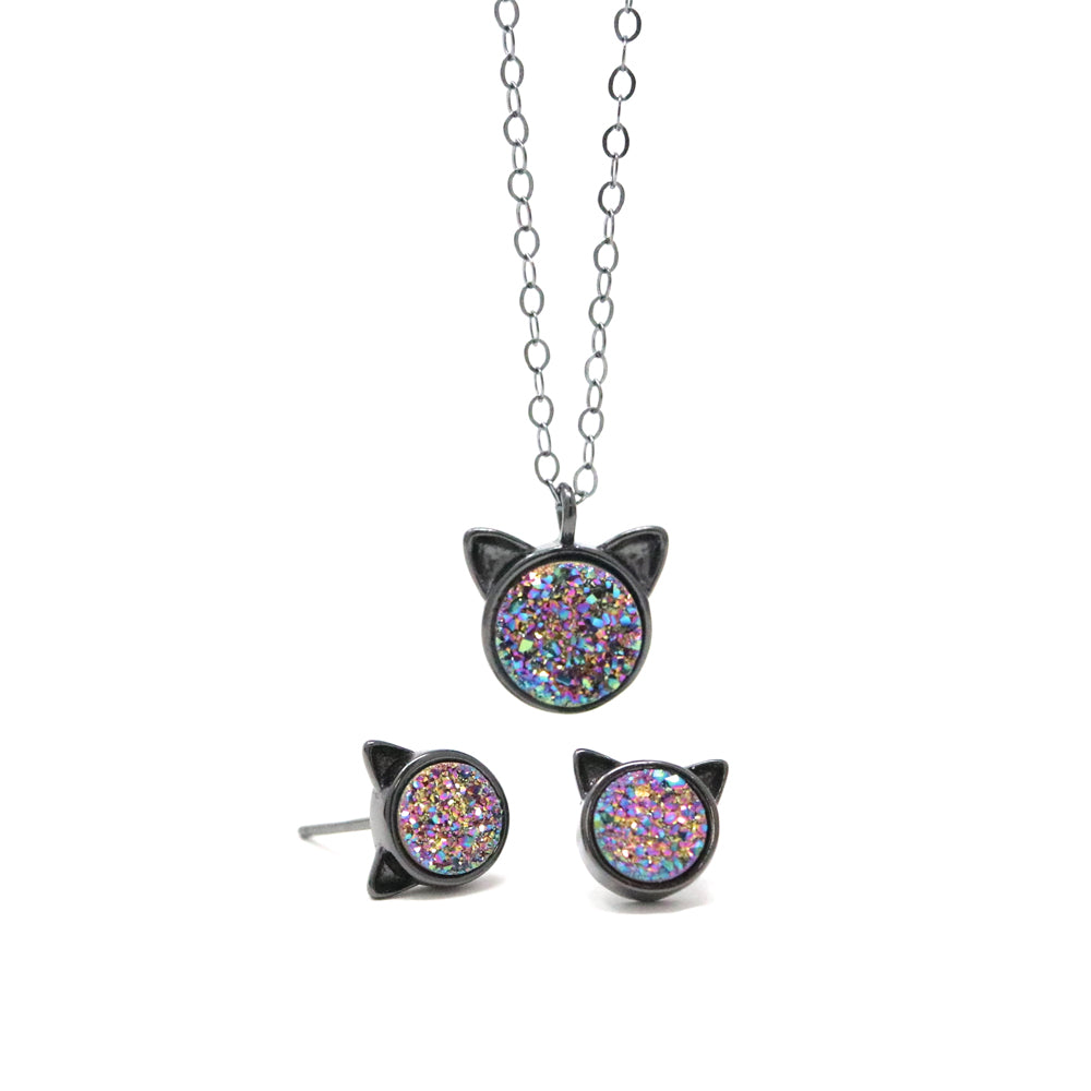 The Rainbow Druzy Cat Gift Set