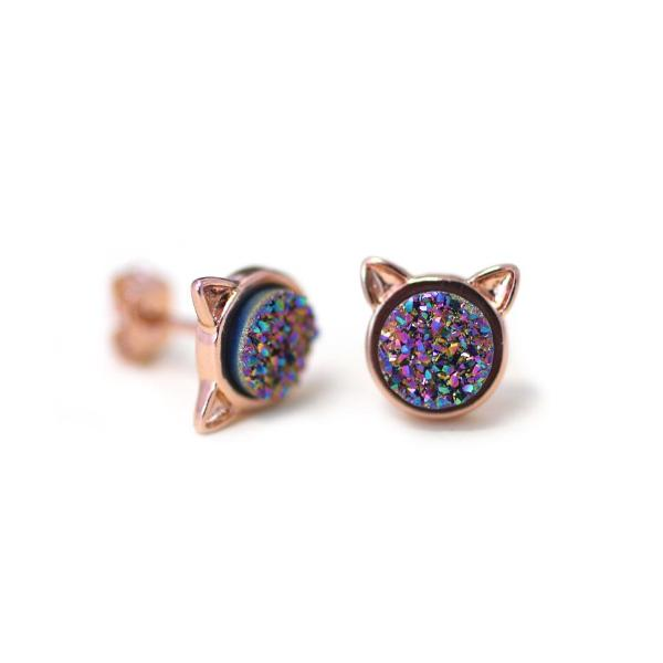 EARRINGS The Druzy Cat Stud