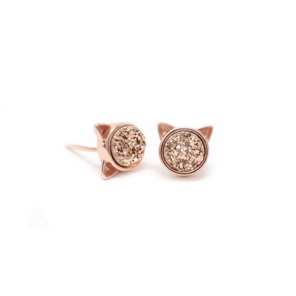 The Druzy Cat Stud Earrings in Rose Druzy