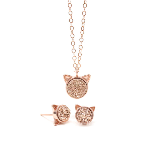 The Rose Druzy Cat Gift Set