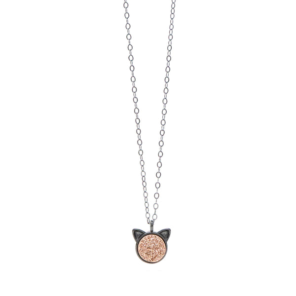 The Petite Cat Necklace in Rose Druzy