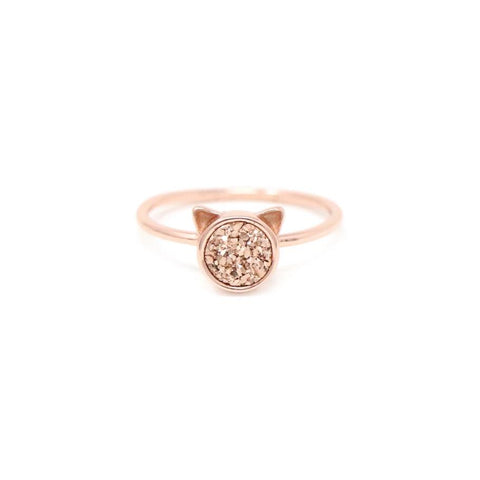 The Druzy Cat Ring in Rose Druzy