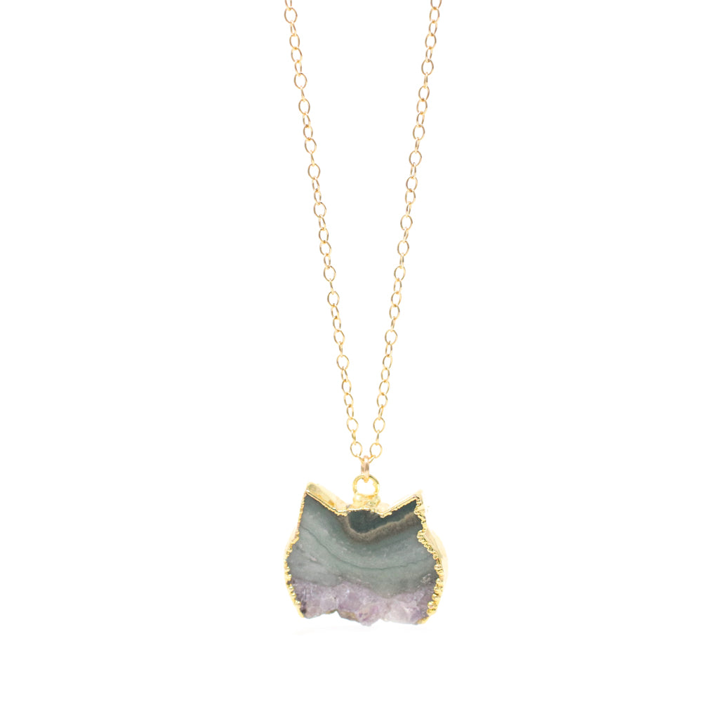 The Colorful Amethyst Slice Cat Necklace in Gold