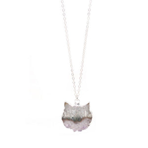 The Colorful Amethyst Slice Cat Necklace in Silver