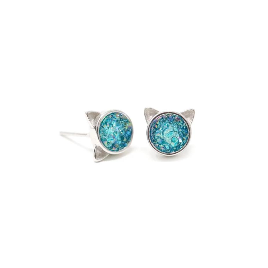 The Druzy Cat Stud Earrings in Seaglass Druzy