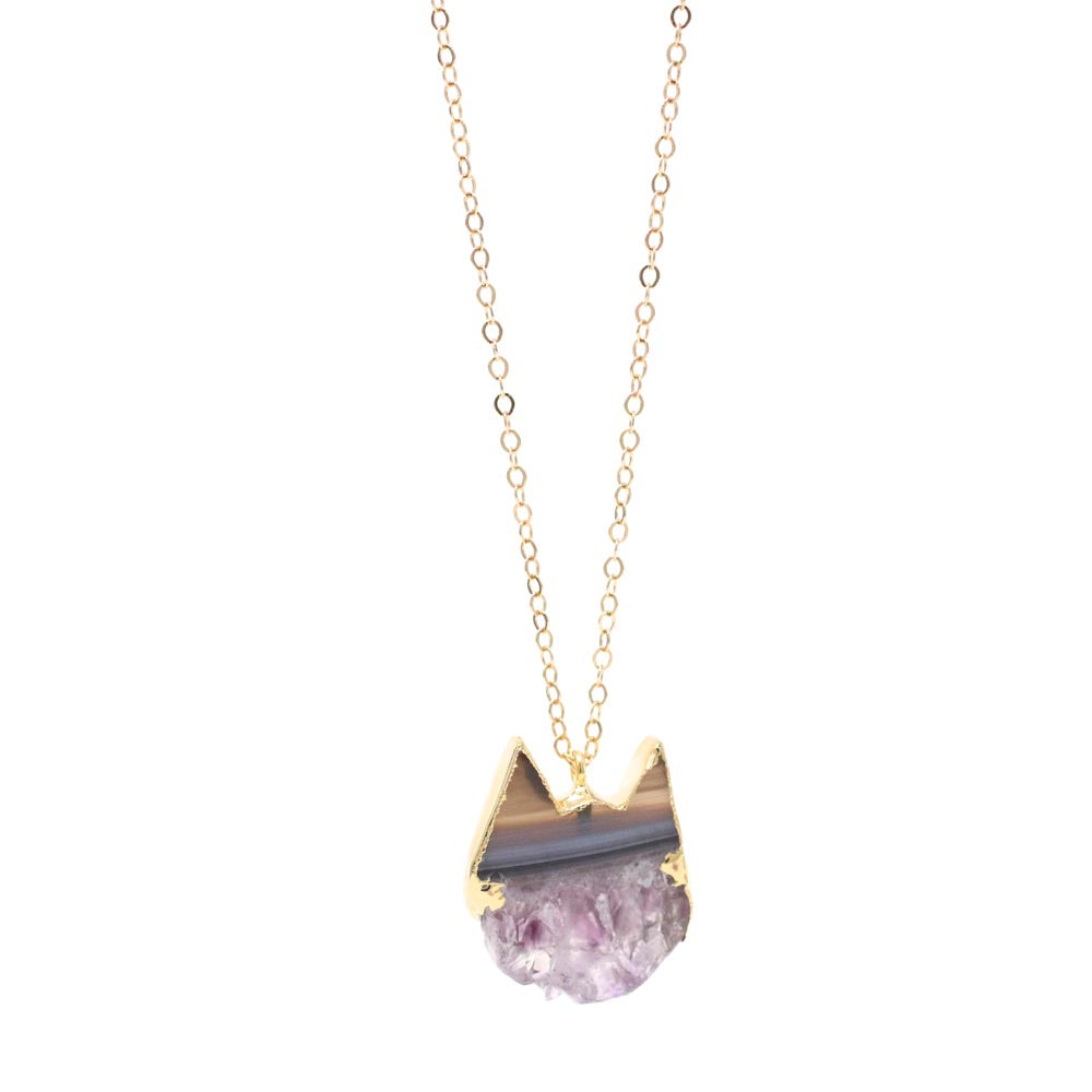 The Petite Amethyst Slice Cat Necklace in Gold