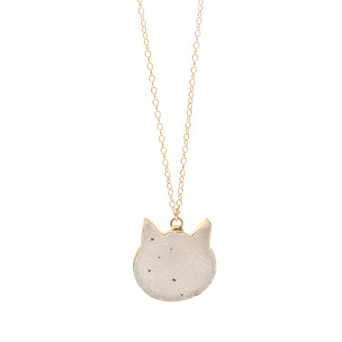 The Spotted Cat Druzy Necklace in Gold