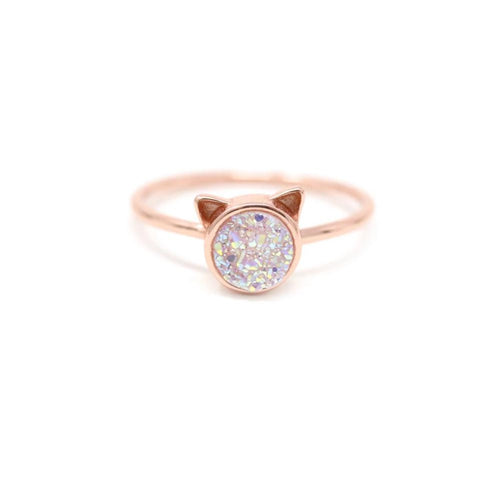 The Druzy Cat Ring in White Druzy