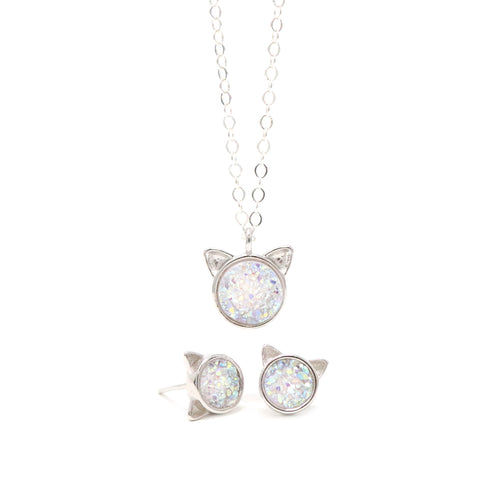 The White Druzy Cat Gift Set