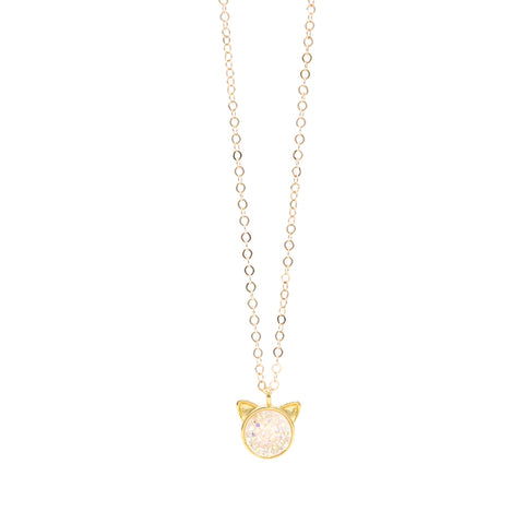 The Petite Cat Necklace in White Druzy