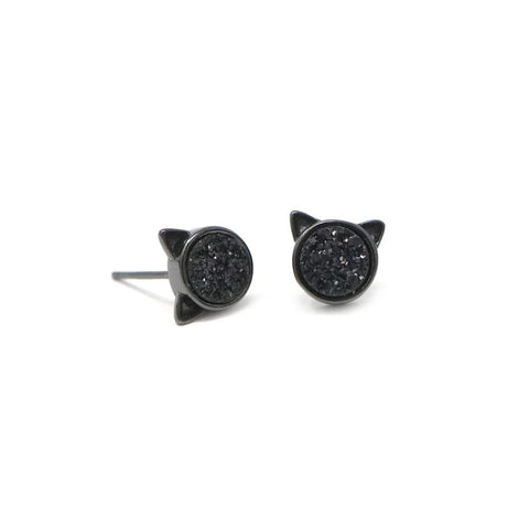 The Druzy Cat Stud Earrings in Black Druzy
