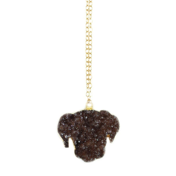 The Druzy Dog Necklace in Gold