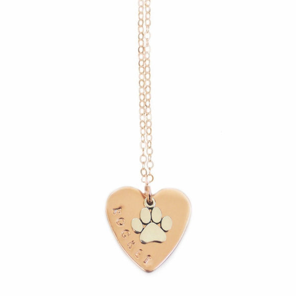 The Personalized Pet Heart & Paw Necklace