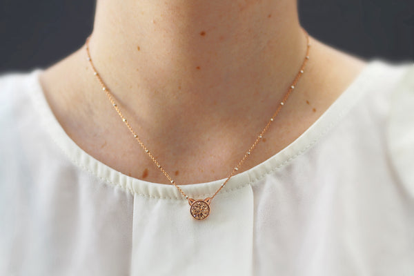 The Petite Cat Necklace in Black Druzy