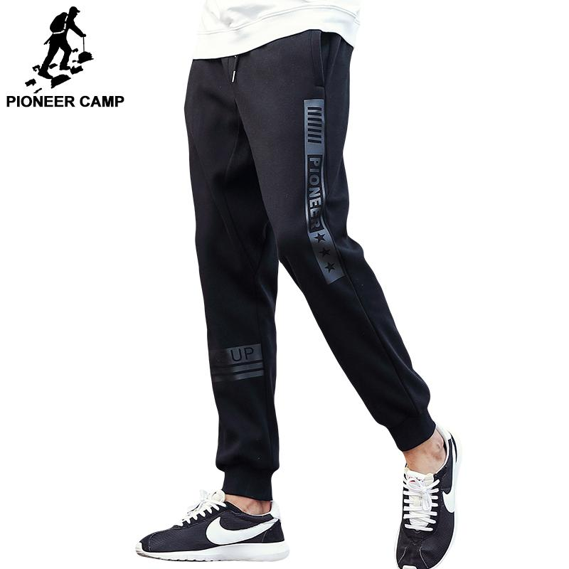 Pioneer Camp brand autumn winter thick pants men top quality male casual fashion fleece trousers black warm sweatpants 622136