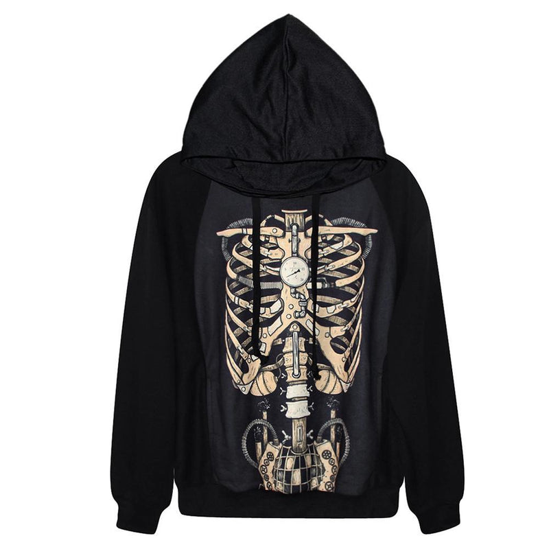Hot Sale Autumn&Winter Women/Men Hoodies Fashion Skull Bones Skeleton  Printing Sexy Dress Casual Streetwear Sweatshirts