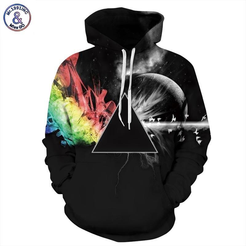 Pink Floyd Graphic Hoodie Dark Side Of The Moon Triangle Galaxy Pullover Men & Women Rock Wear