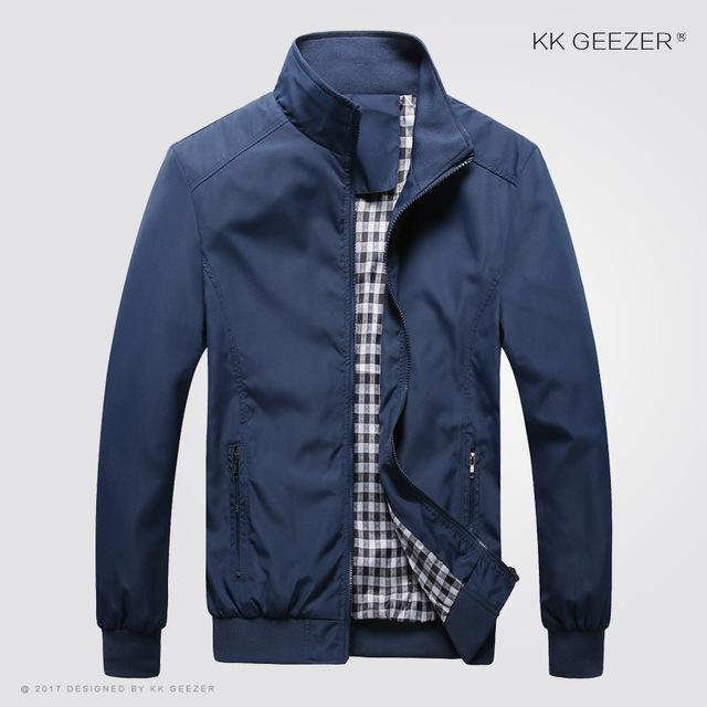 Spring Jacket Men 2017 5XL Waterproof Autumn Thin Slim Casual Men jackets Fashion High Quality Large Plus size Brand Blue Black