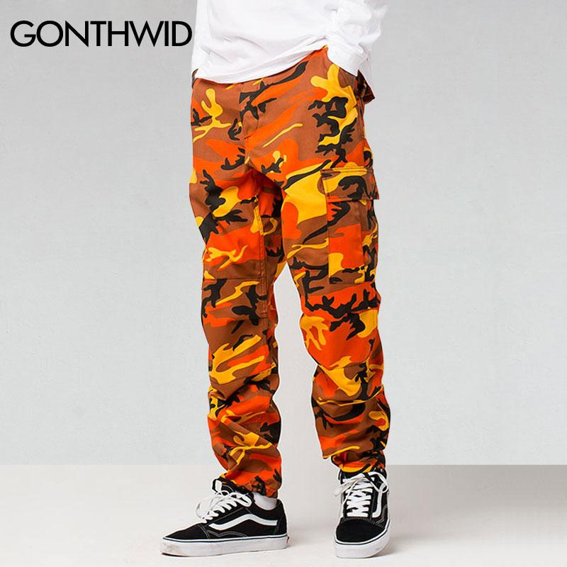 GONTHWID Color Camo Cargo Pants 2017 Mens Fashion Baggy Tactical Trouser Hip Hop Casual Cotton Multi Pockets Pants Streetwear