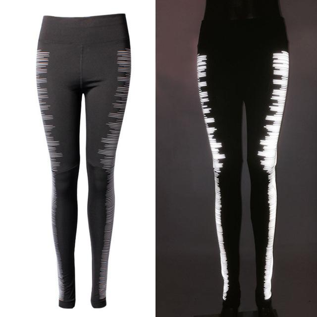 Quick Dry Black Reflective Night Running Tights With Zip Pocket