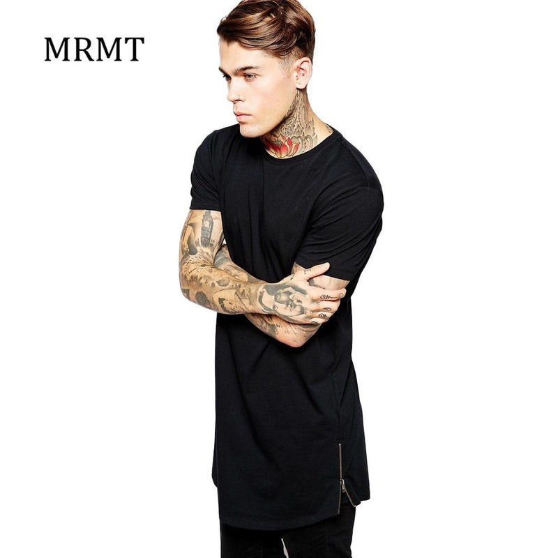 MRMT 2017 long t shirt Men Hip Hop Black t-shirt Longline Extra Long tee shirt for male Zipper Tops Over Size Streetwear tshirt