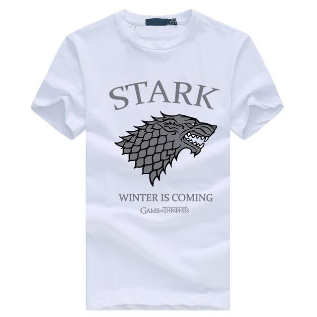 Winter is coming Streetwear Funny Swag T shirt 2017 bodybuilding Wolf T-shirt men Stark Winterfell Cotton Tee shirt
