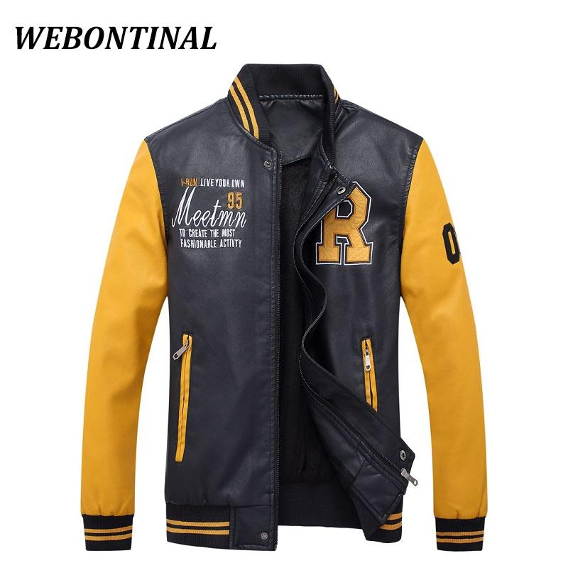 WEBONTINAL Hot Sale 2017 Bomber Jackets Men Faux Leather Male Jacket Coats Casual Brand Autumn Winter Pilot Embroidery Outerwear