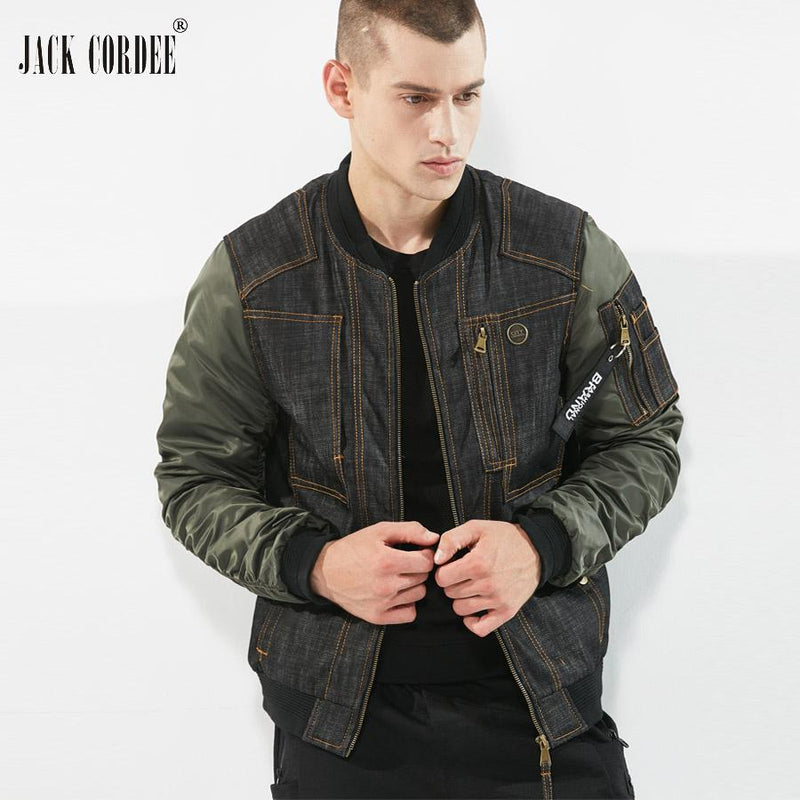 JACK CORDEE Fashion Denim Jacket Men Stand Collor Jacket Pockets Patchwork Designs Autumn Bomber Jacket Male Windbreaker Coat