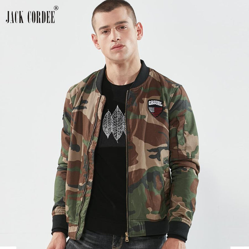 JACK CORDEE Fashion Camouflage Jacket Men Windbreaker Stand Collor Bomber Jacket Patch Designs Casual Baseball Jacket Men Coat