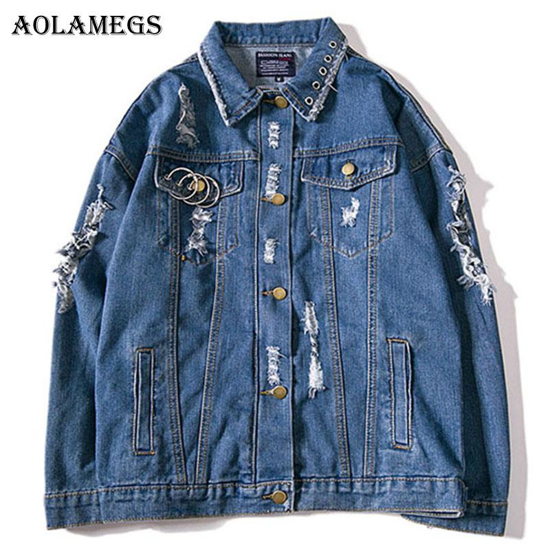 Aolamegs Denim Jacket Men Metal Ring Holes Letter Men's Jacket Cowboy Casual High Street Fashion Outwear Pocket Men Coat Autumn