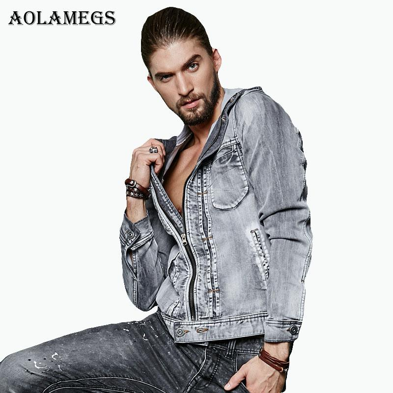 Aolamegs Men Hooded Denim Jacket Men's Denim Knitted Zipper Denim Jacket Male Washed Flower Tulips Jeans Coat Homme Slim Outwear