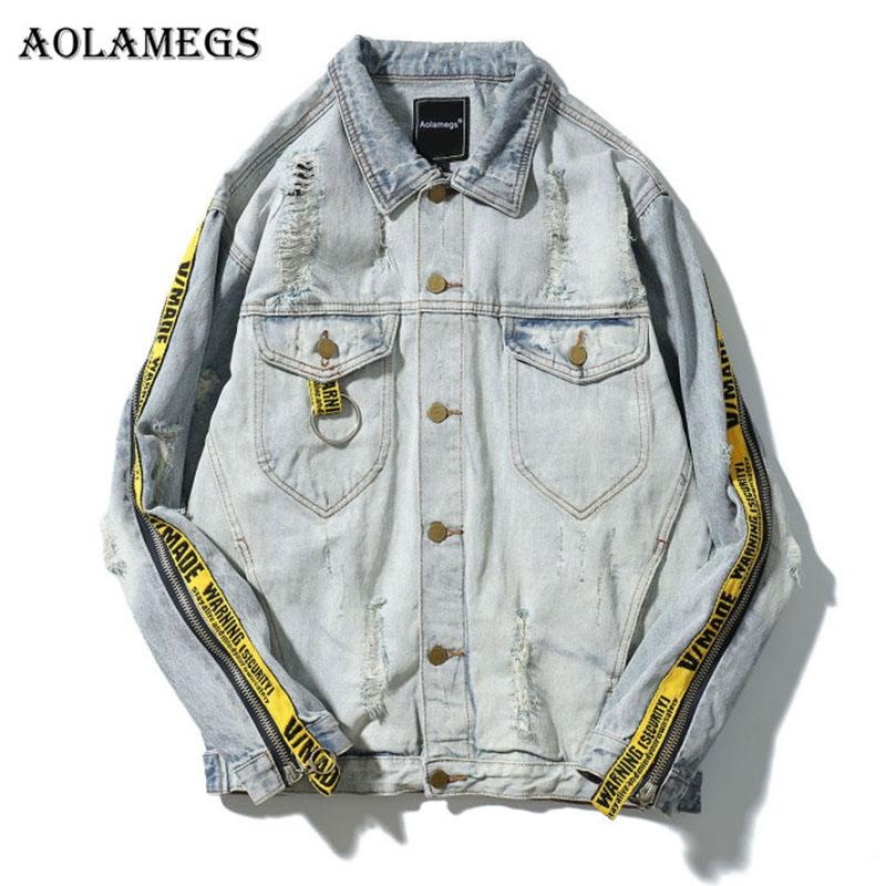 Aolamegs Denim Jacket Men Patchwork Gold Ribbon Cowboy Punk Rock Men's Jacket High Street Fashion Outwear Men Coat 2017 Autumn
