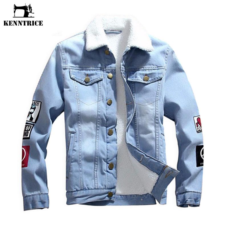 KENNTRICE Denim Jacket For Men Male Denim Jackets Denim Coat Fur Collar Denim Jacket Men's Jean Jacket Blouse Faux Fur Coat
