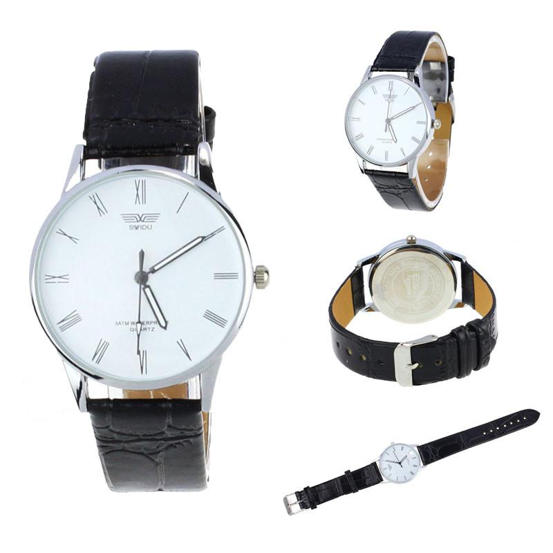 Classic Mens Roman Number Quartz Electronic Leather Wrist Watch