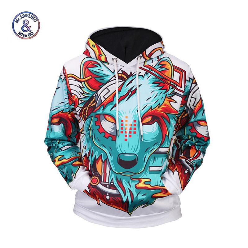 Mr.1991INC Hoodies Autumn Winter New Fashion Thin Cap Sweatshirts 3d Print Wolf Men/women Hooded Casual Hoody Loose Pullovers