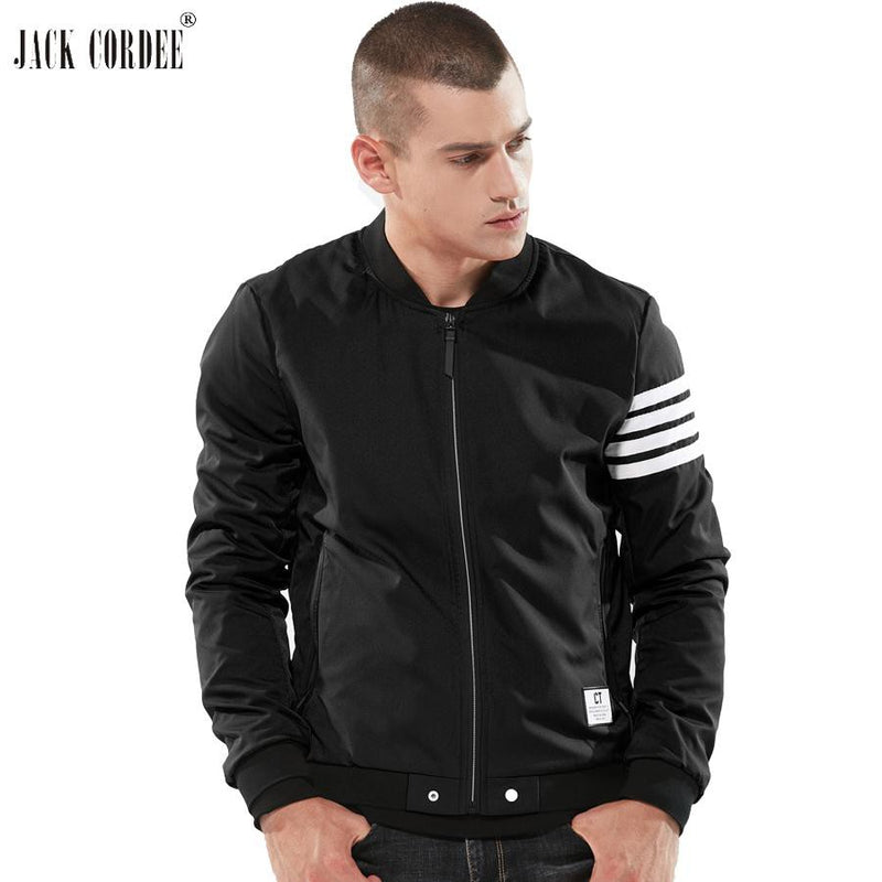 JACK CORDEE Fashion Autumn Jacket Men Stand Collor Bomber Jacket Striped Designs Casual Baseball Jacket Men Windbreaker Coat