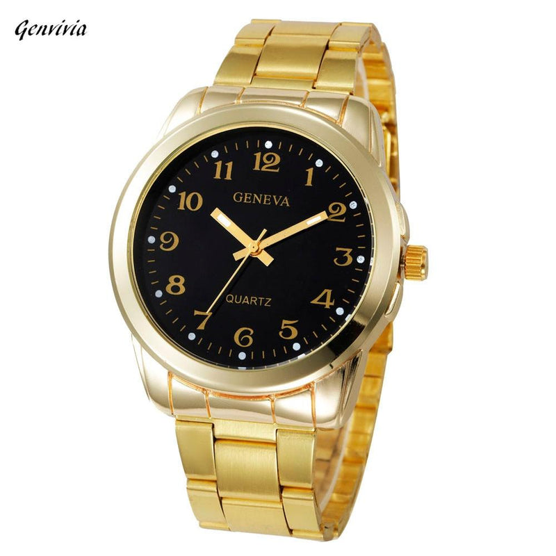 Genvivia Fashion Luxury Brand Women Men Simple Stainless Steel Analog Quartz Wrist Watch relojes mujer 2017 Classics Gold watch