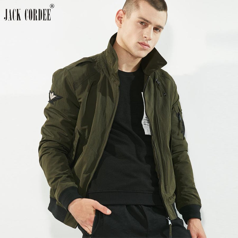 JACK CORDEE 2017 New Bomber Jacket Fly Badge Turn-Down Collar Men Coat Zipper Pocket Spring Black Pilot Jackets Men Windbreaker