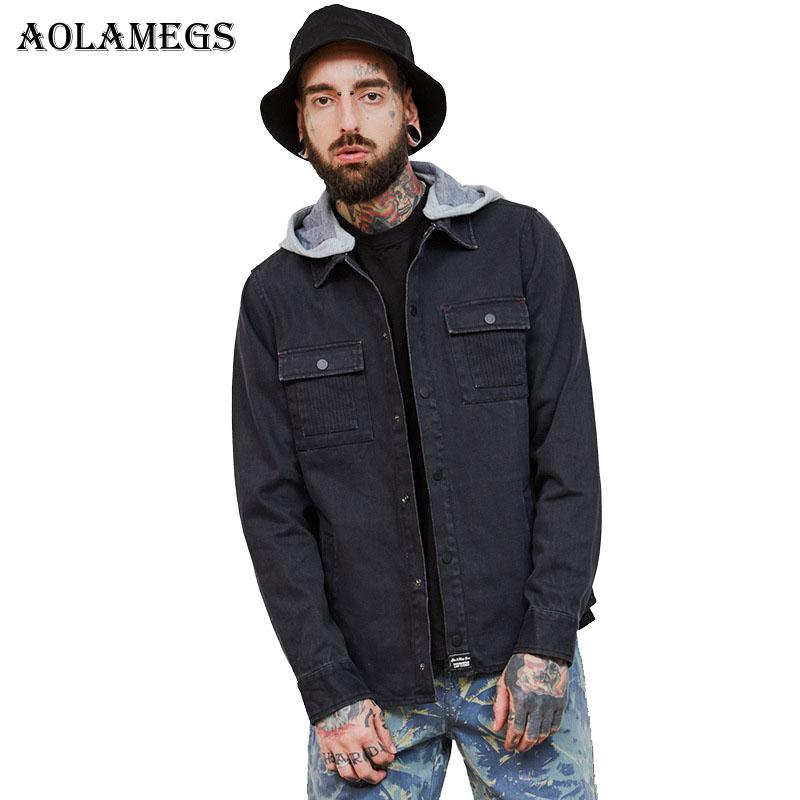Aolamegs Denim Jacket Men Cargo Solid Hooded Cowboy Men's Jacket High Street Fashion Casual Outwear Men Coat 2017 Autumn Winter