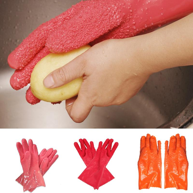 1 pair Magic Quick Fruit Vegetable Processing Tools PVC Rubber Peelers Potato Gloves Cooking Tools (Random Color )