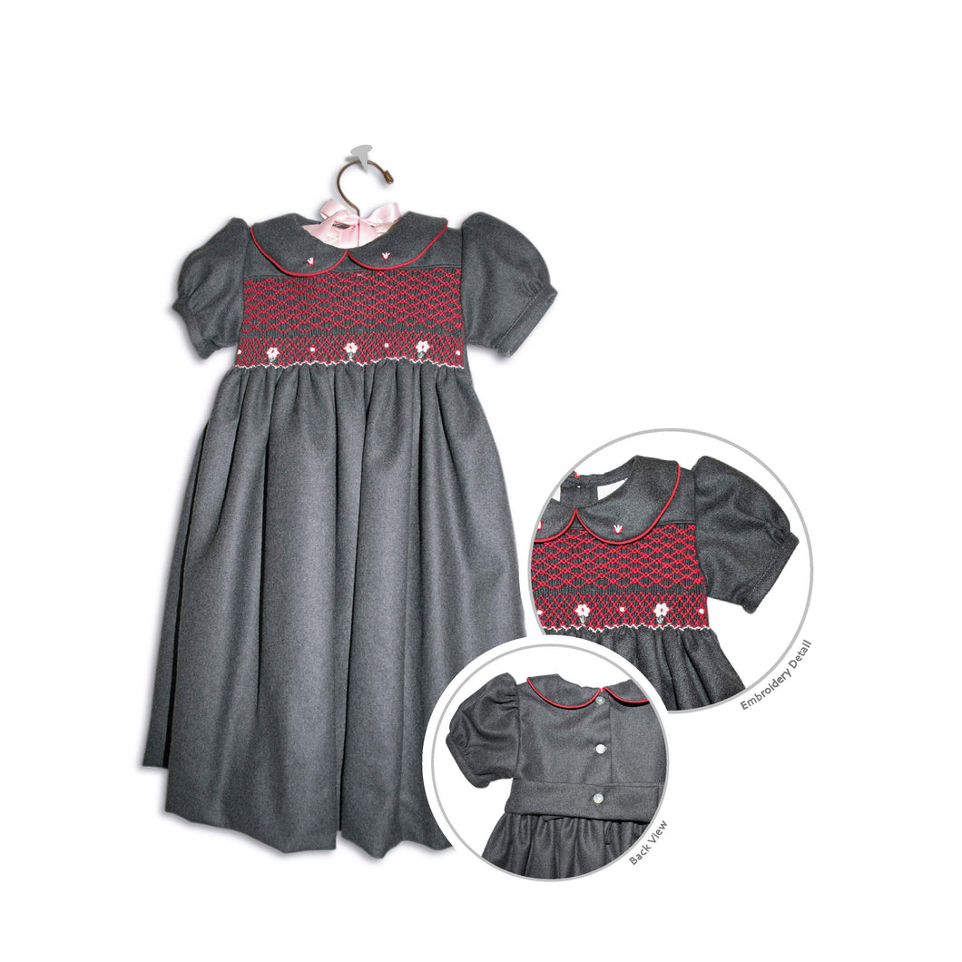 Antal hand smocked children's dark grey flannel holiday party dress - 100% handmade original