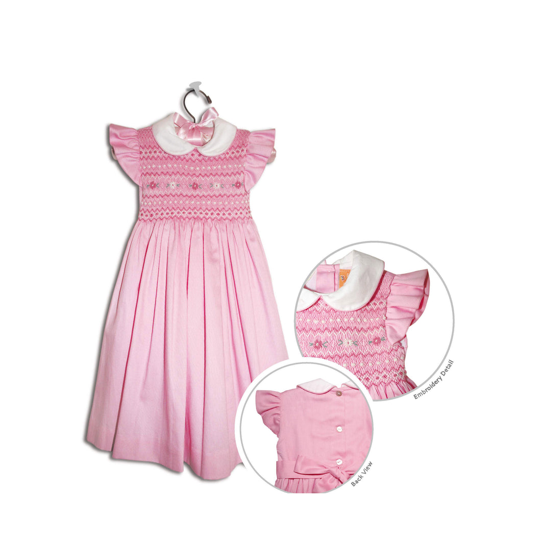 Bettina hand smocked children's pink party dress - 100% cotton original